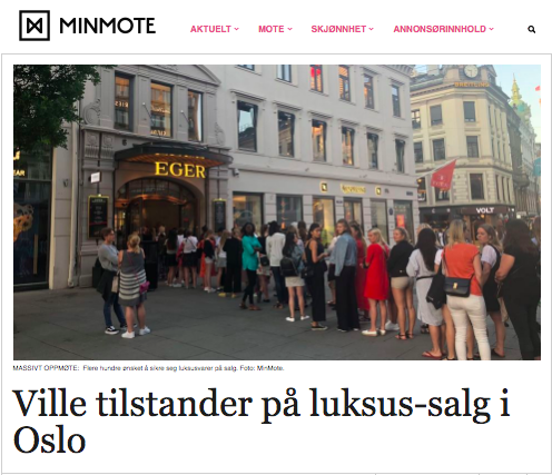 MinMote skrev om det store salget hos Høyer på Eger. Foto: Skjemdump MinMote.no