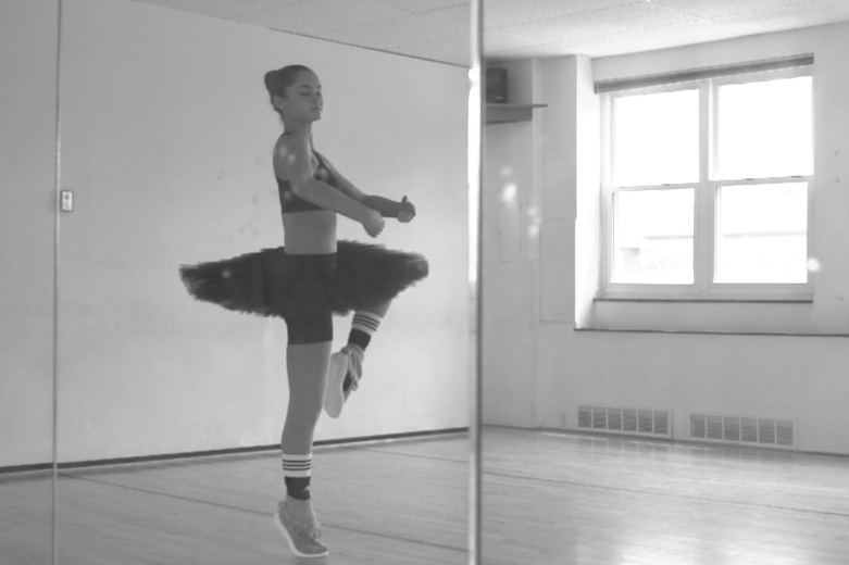 A dances ballerina in the yeezy boost recommendations dress in autumn in 2019