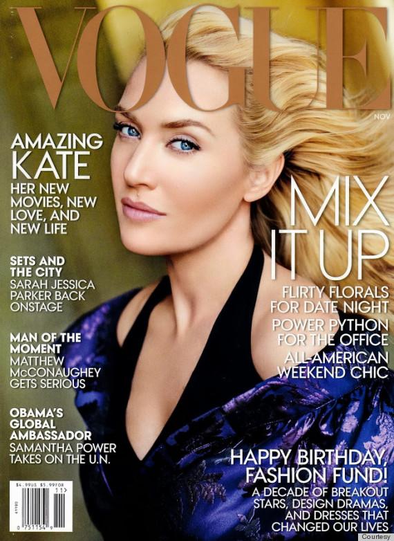 Retusjert Kate Winslet på coveret av Vogue US i 2013