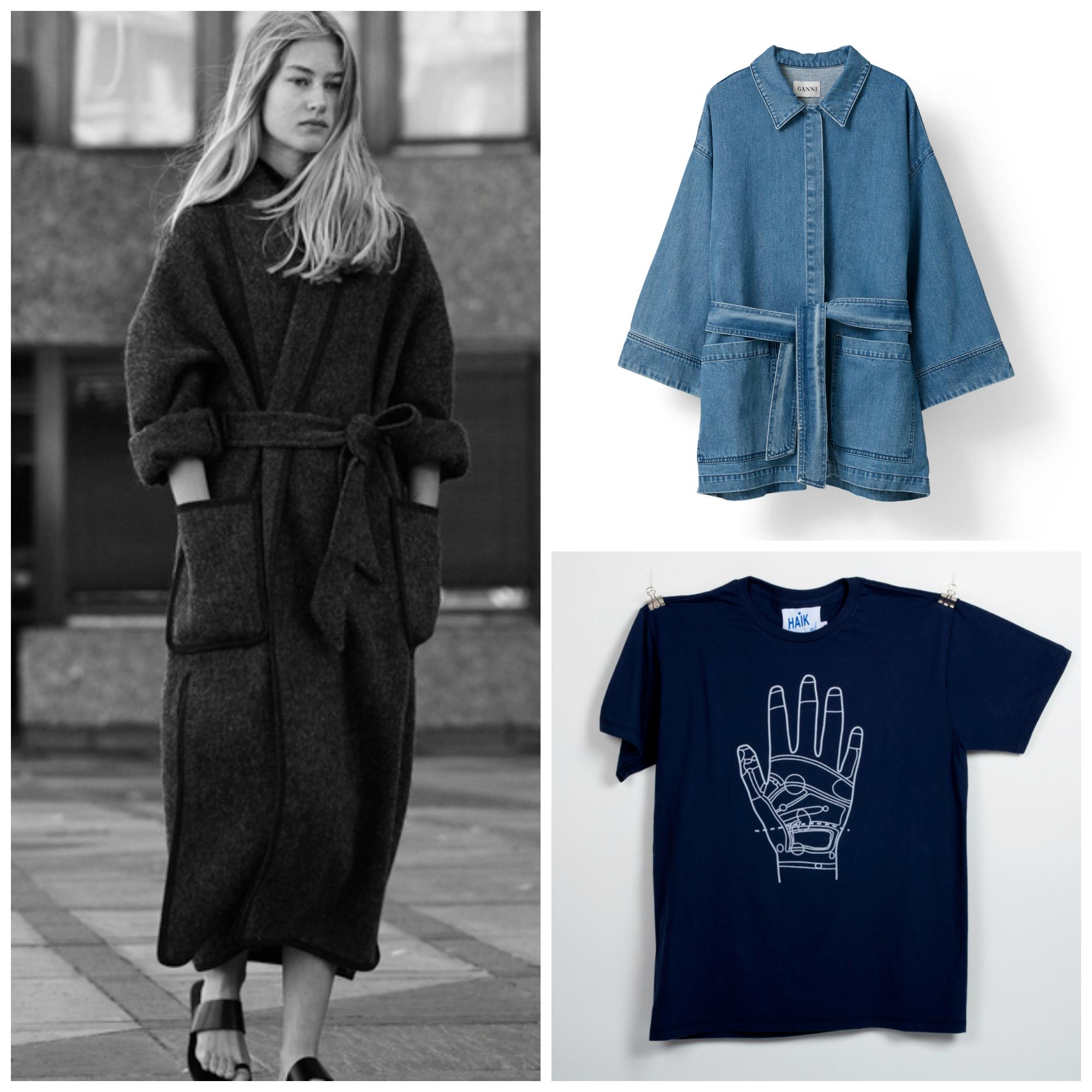Kåpe fra Elisabeth Stray Pedersen/Dongerijakke fra Ganni/t-skjorte fra Haik. Foto: Produsenten