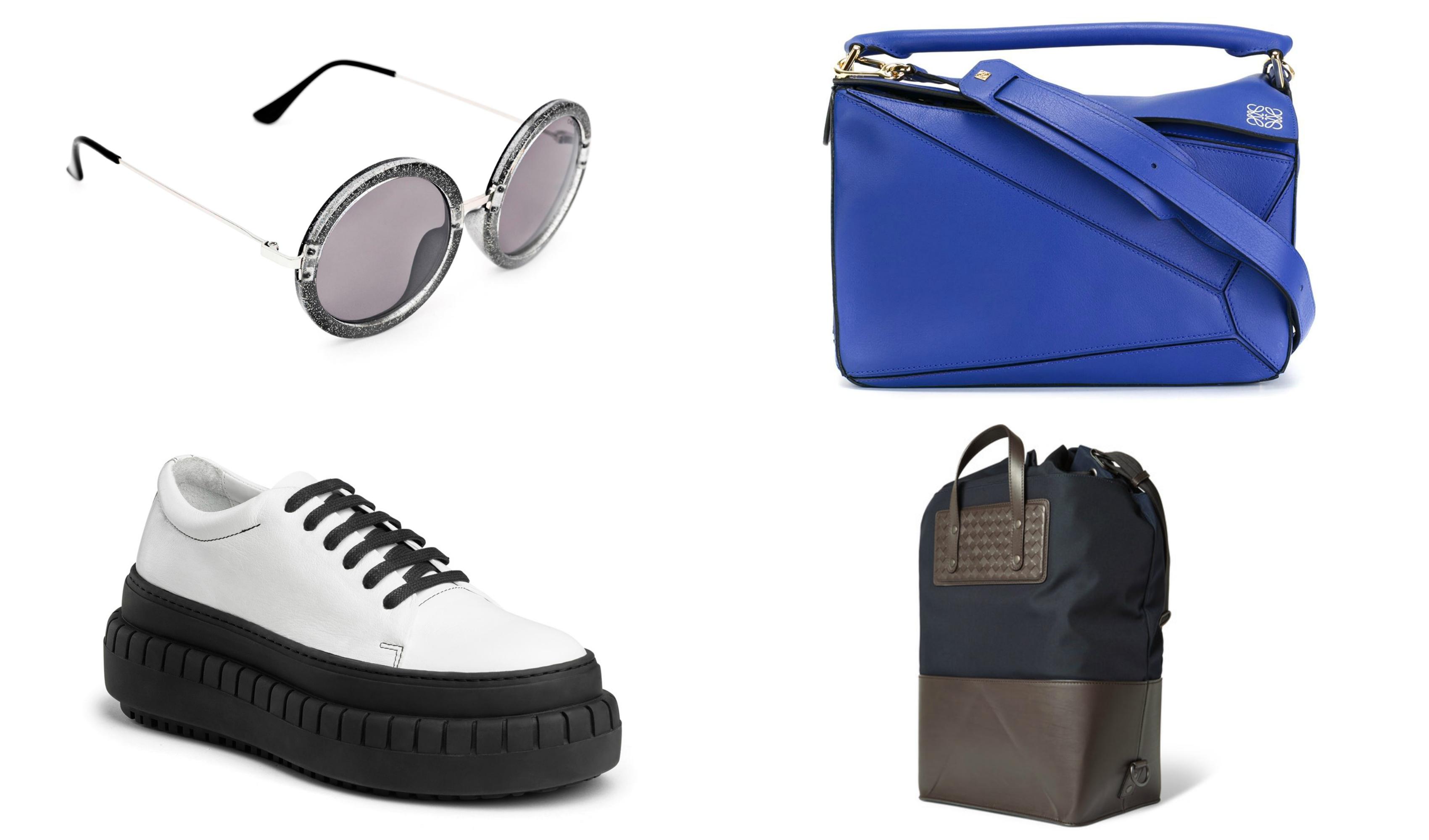 Solbriller fra Cheap Monday. Foto: Weekday/ Plattform sko fra Acne. Foto: Produsenten/ Veske fra Loewe. Foto: Farfetch/ Veske fra Bottega Venata. Foto: MrPorter