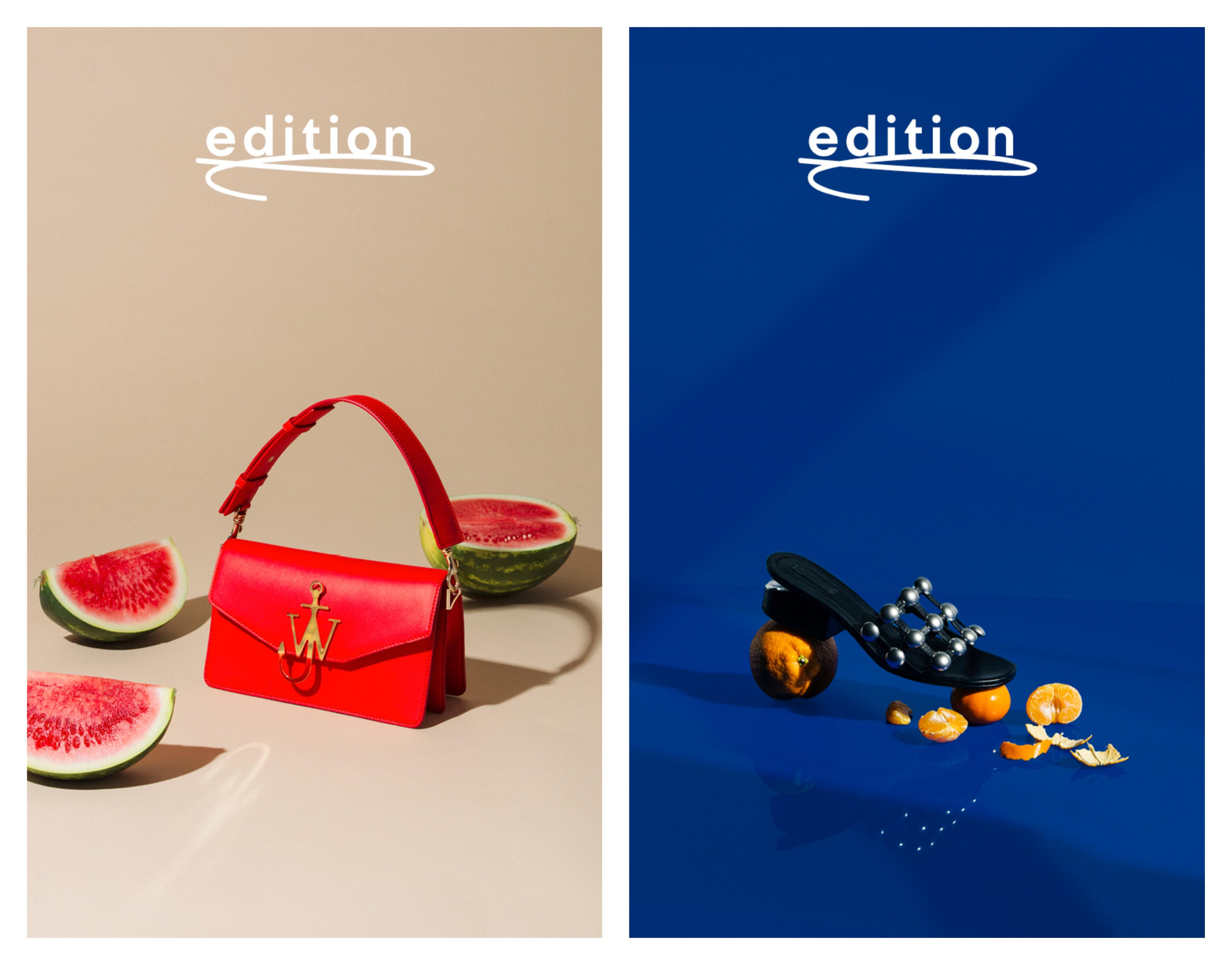 Bilder av veske og sko som skal selges hos Edition