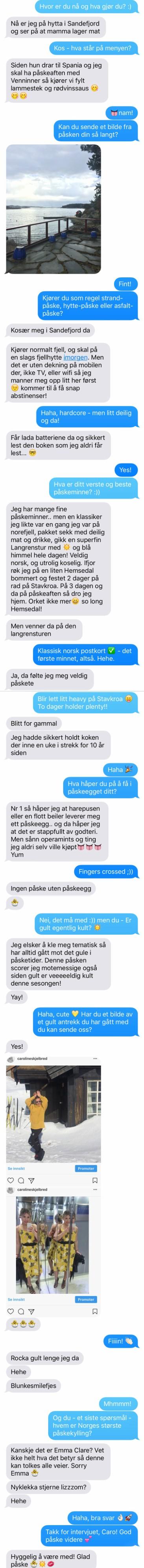 Bilde av sms-ene fra intervjuet med Caroline Skjelbred