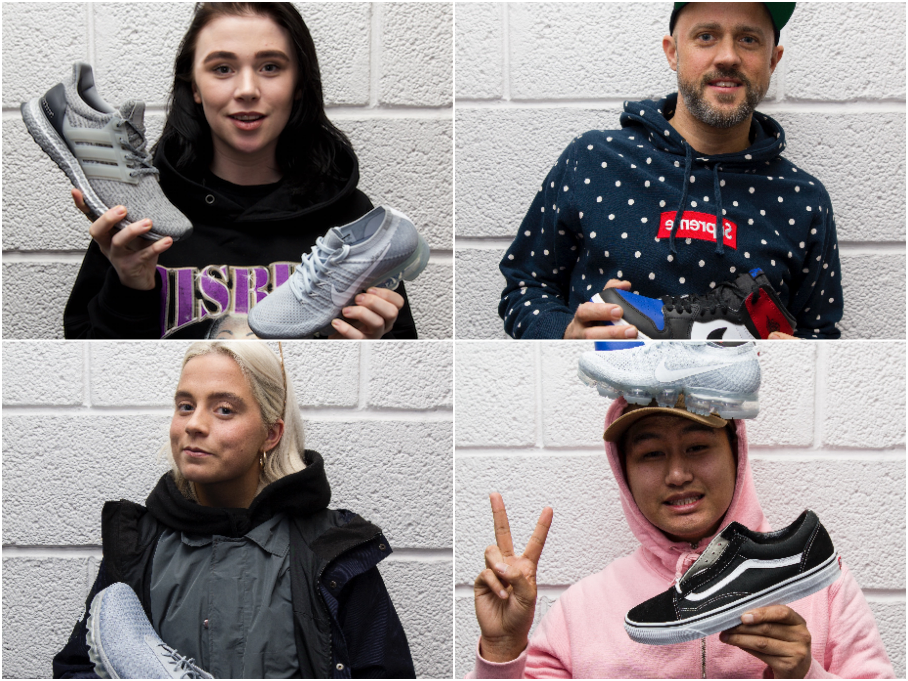 Kollasj av sneakerspanelet med sine favorittmodeller