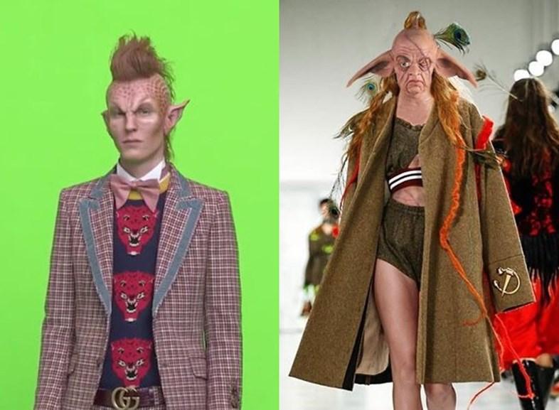 Collage av Gucci og Pierre-Louis sine lignende kolleksjoner