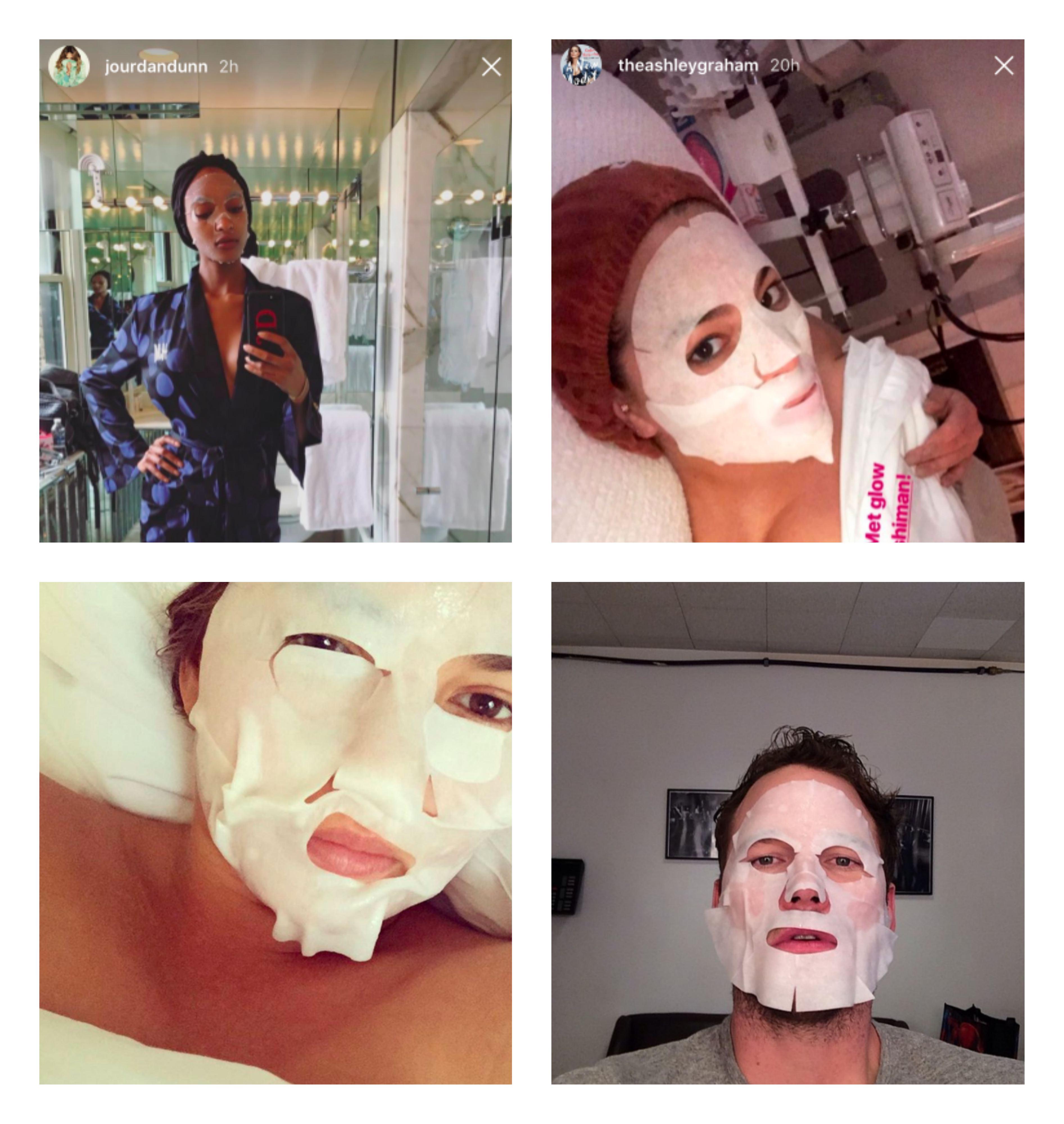 Bilder av Jourdan Dunn, Ashley Graham, Chrissy Teigen og Chris Pratt med sheet masks