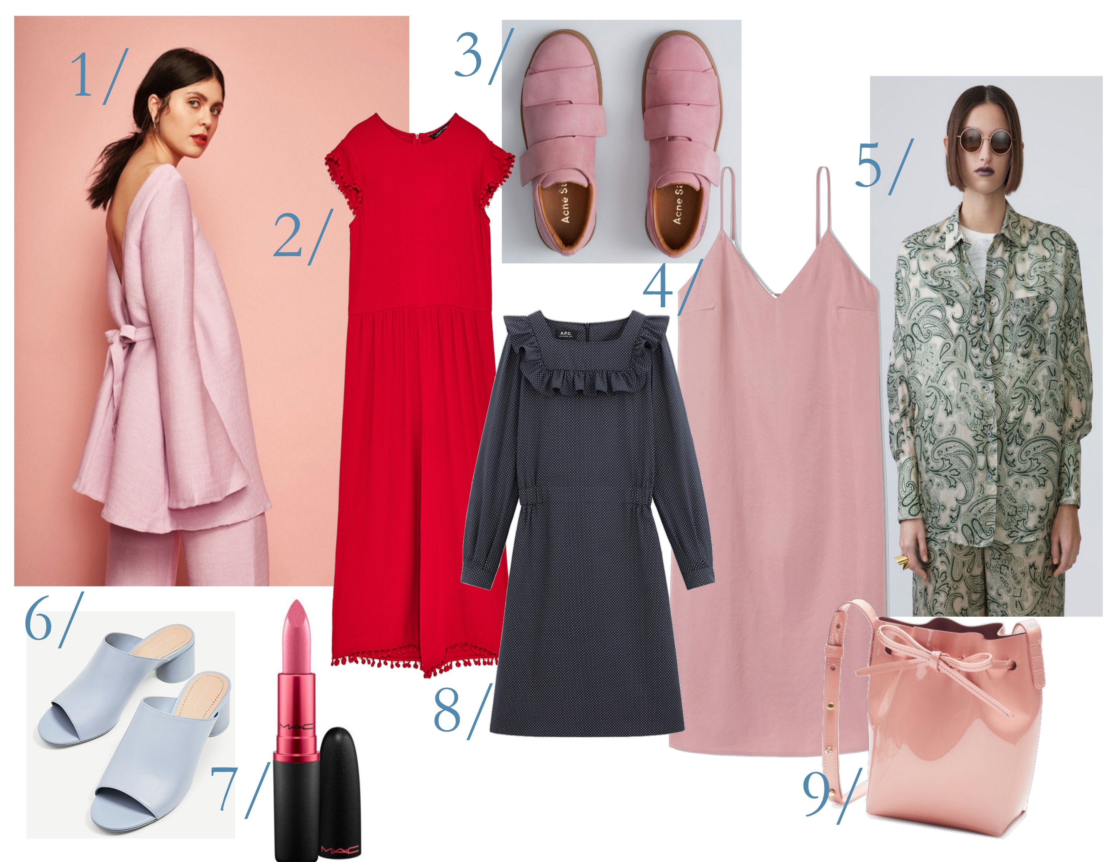 ac1587ab 1/ Bukse og overdel fra Christina Ledang (4200,-) 2/ Rød jumpsuit fra Zara  (349,-) 3/ Rosa sneakers fra Acne (3695) 4/ Rosa slip-kjole fra Weekday (ca  400 ...