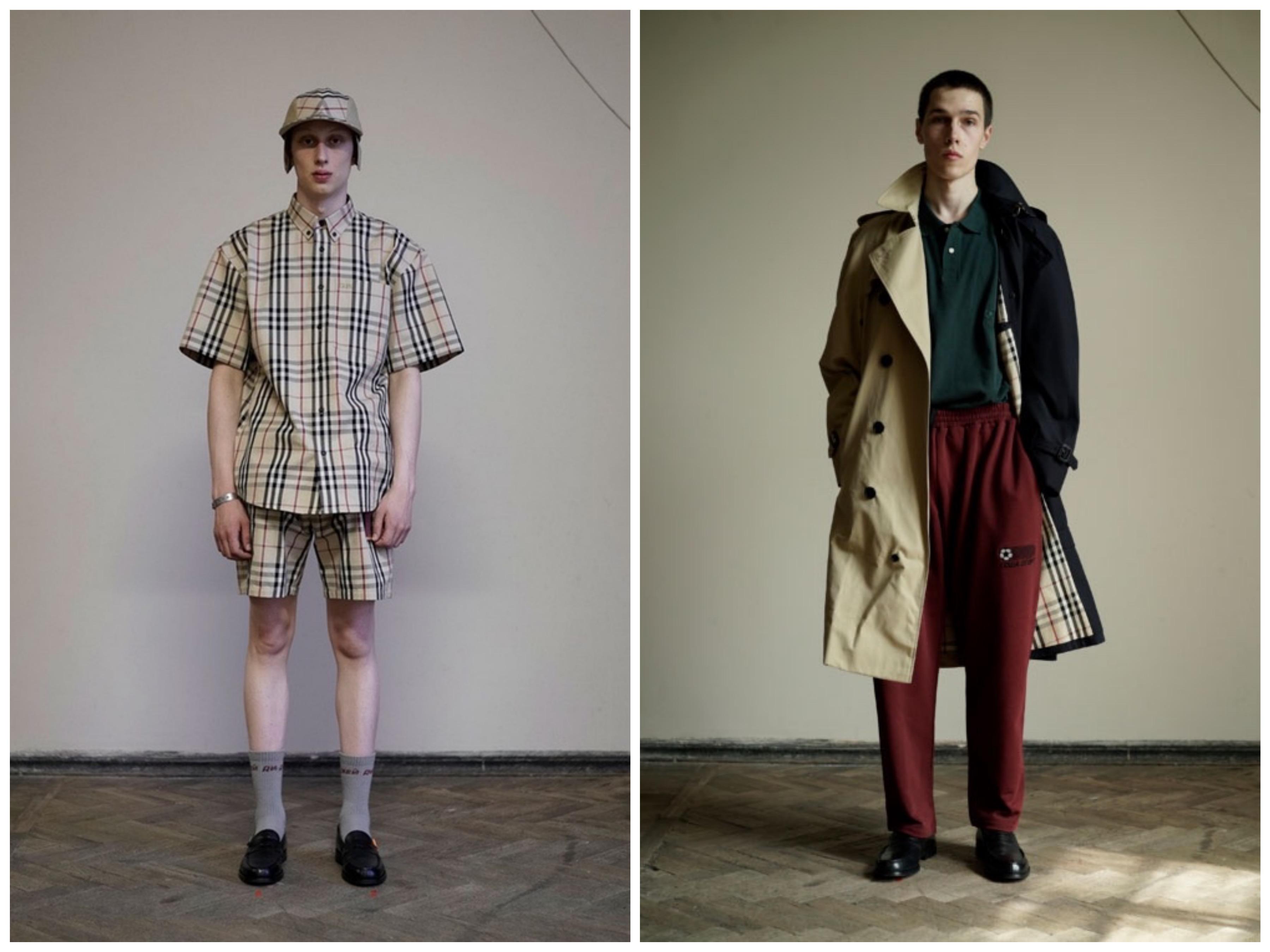 Kollasj av to modeller som er iført Gosha Rubchinskiy x Burberry