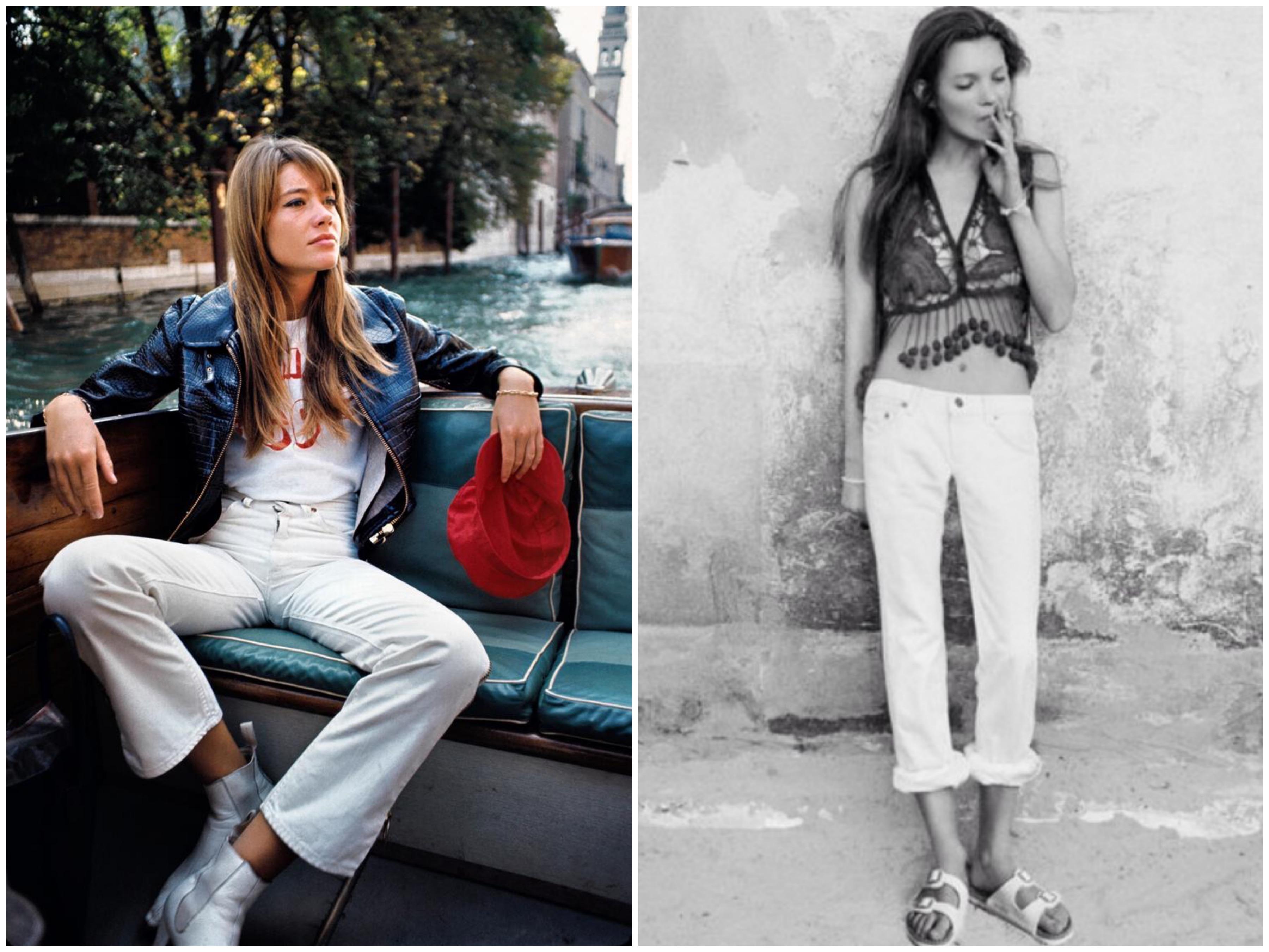 Francois Hardy og Kate Moss i hvite jeans