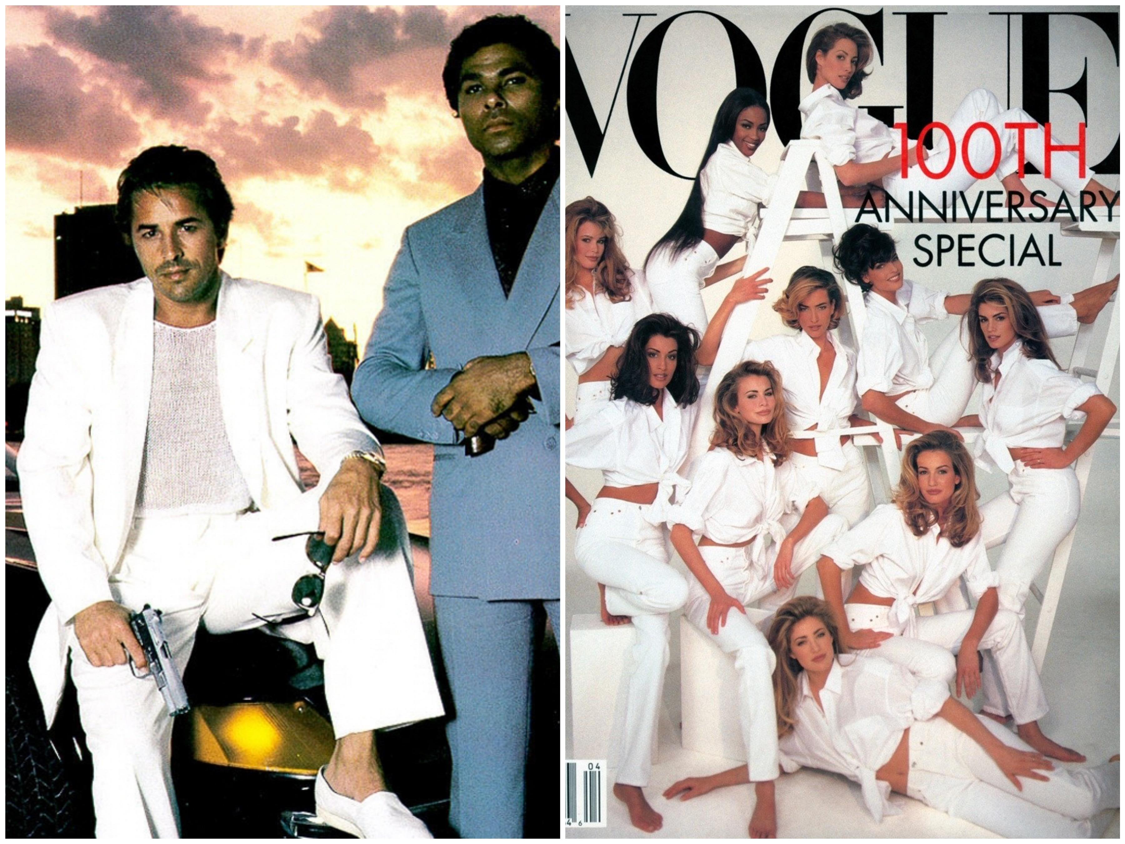 Gutta i Miami Vice i hvitt antrekk og forsiden av Vogue med supermodeller i hvite antrekk