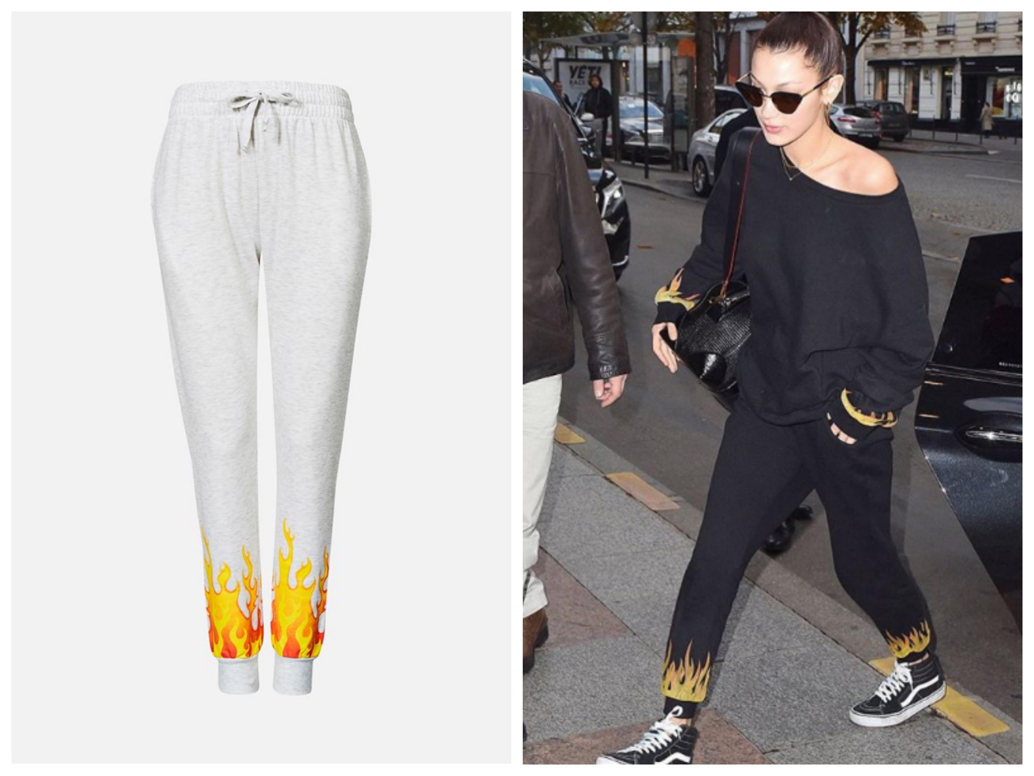 Kollasj med bilde av to joggebukser som er veldig like fra forskjellige merker