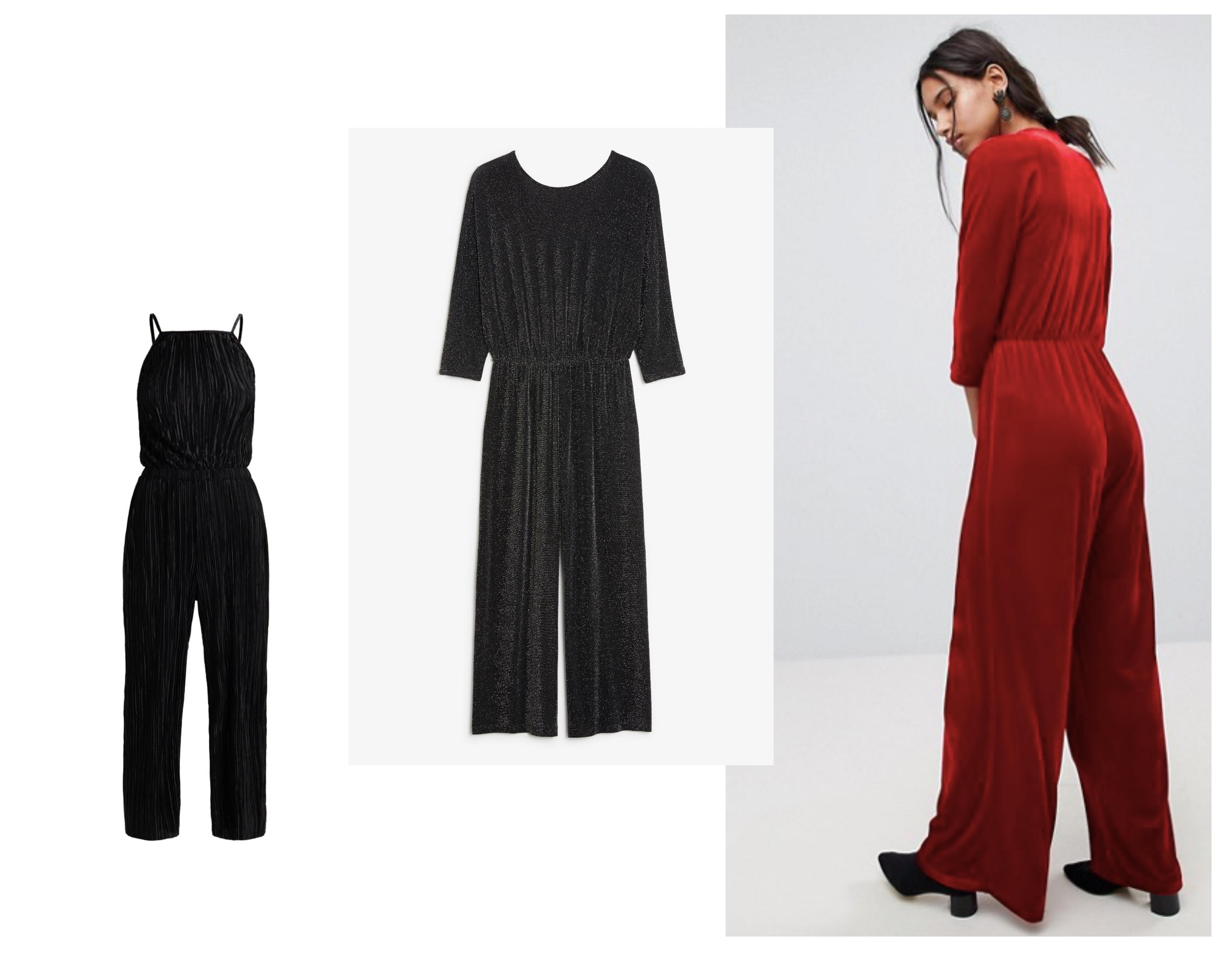 5c87315b Fra venstre: Svart jumpsuit i plissé fra New Look via Zalando (299,-) /  Jumpsuit i glitter fra Monki (ca 300,-) / Rød jumpsuit i velur fra Asos (ca  400,-)
