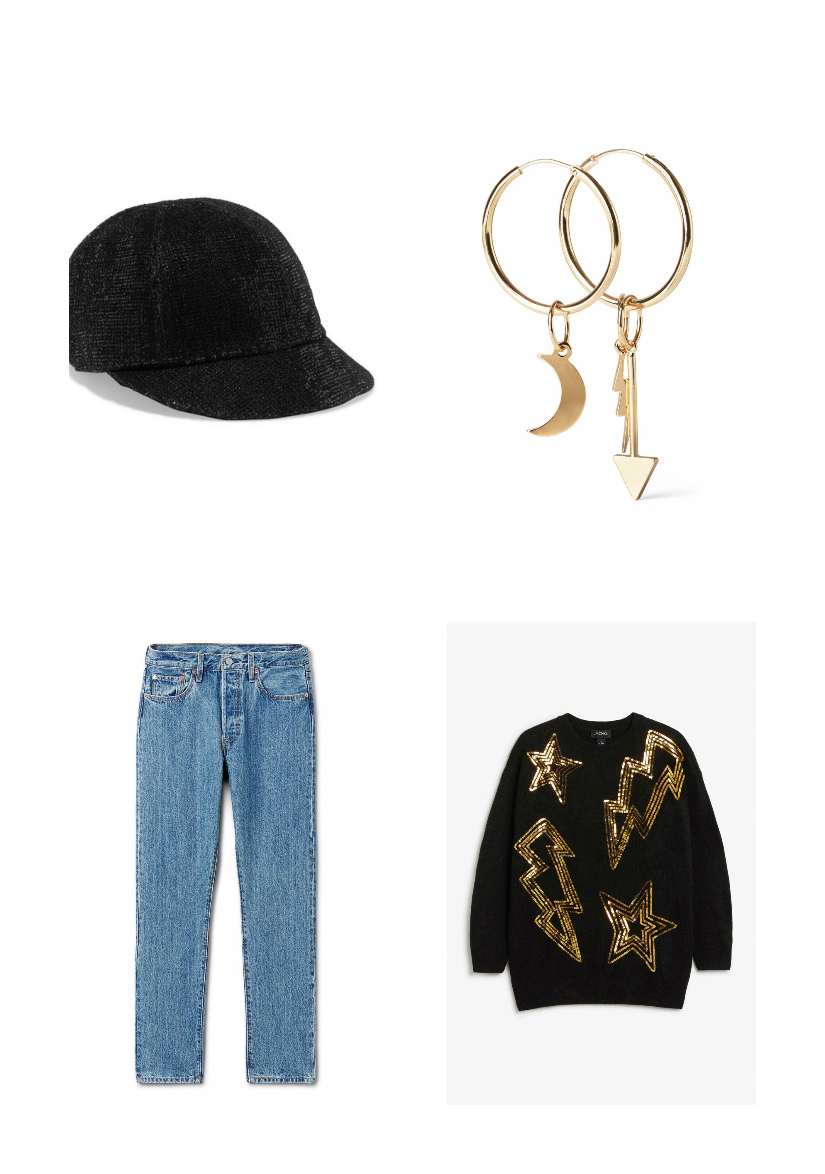7eee7902 ... 3602 kr via Net-a-Porter – Gullfargede øredobber, 100 kr fra Weekday –  Lyse 501 jeans fra Levis, 1100 kr via Weekday – Sort genser med  gullpaljetter, ...