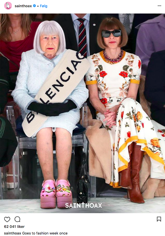 Dronning Elizabeth og Anna Wintour front row under Richard Quinn på London Fashion Week