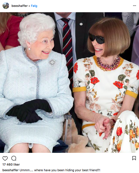 Dronning Elizabeth og Anna Wintour under London Fashion Week