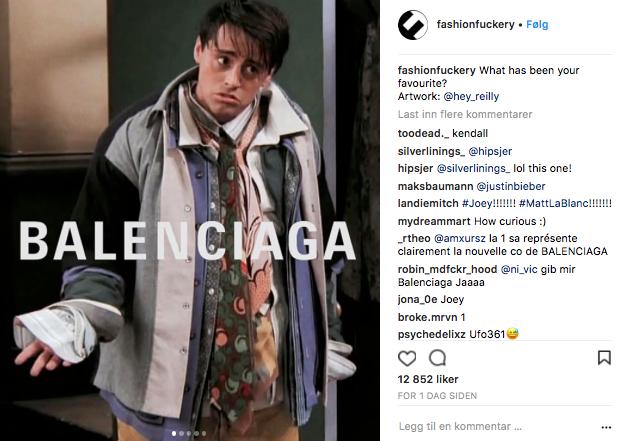 Balenciaga-visningen sammenliknes med Joey fra Friends