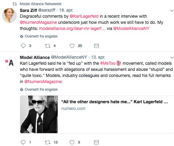 Model Alliance gikk ut mot Karl Lagerfeld på Twitter. Foto: Skjemdump Twitter, @ModelAllianceNY
