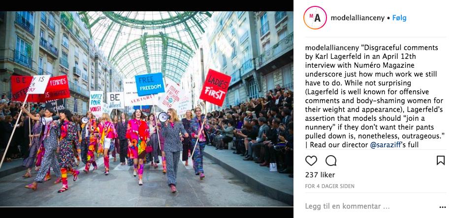 The Model Alliance har gått hardt ut mot Karl Lagerfeld på sosiale medier. Bildet er fra en tidligere Chanel-visning. Foto: Skjermdump Instagram