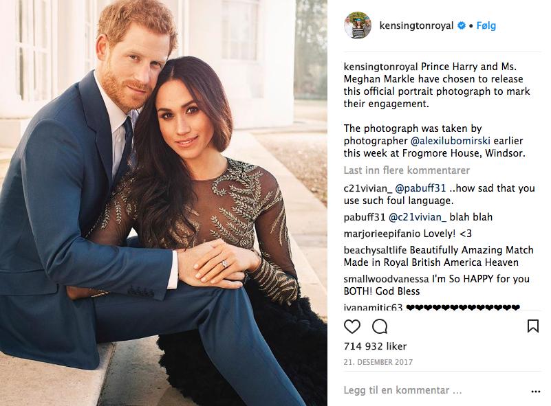 Det offisielle forlovelsesbildet. Foto: Skjemdump Instagram @KensingtonRoyal