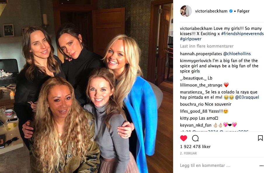 Jentene fra Spice Girls er invitert i bryllupet. Foto: Skjemdump Instagram @VictoriaBeckham
