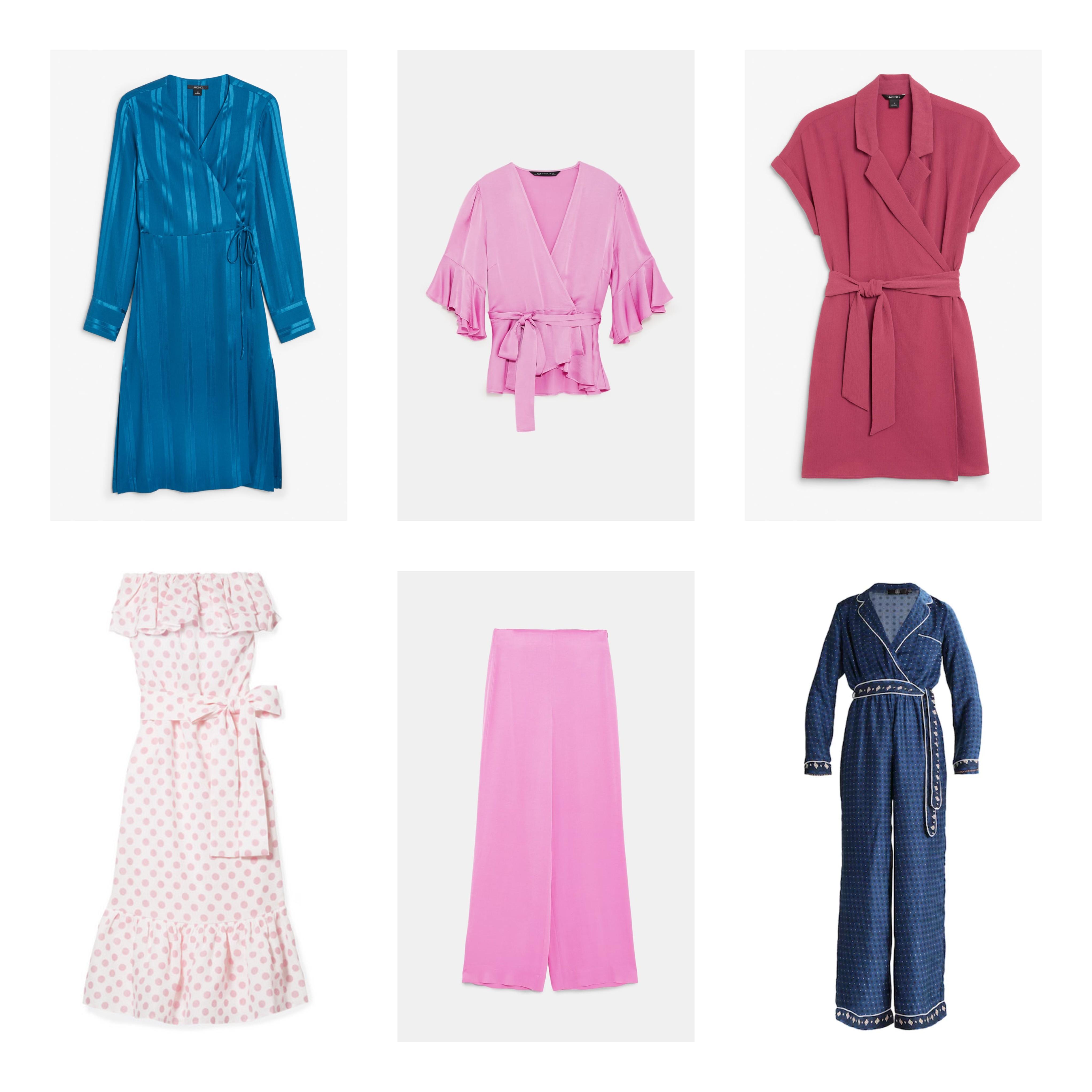 51f1a586 Blå kjole fra Monki, 350 kr // Knallrosa sett fra Zara, bukse 399 kr, bluse  350 kr // Mørk rosa kjole fra Monki, 250 kr // Hvit og rosa prikkete kjole  fra ...