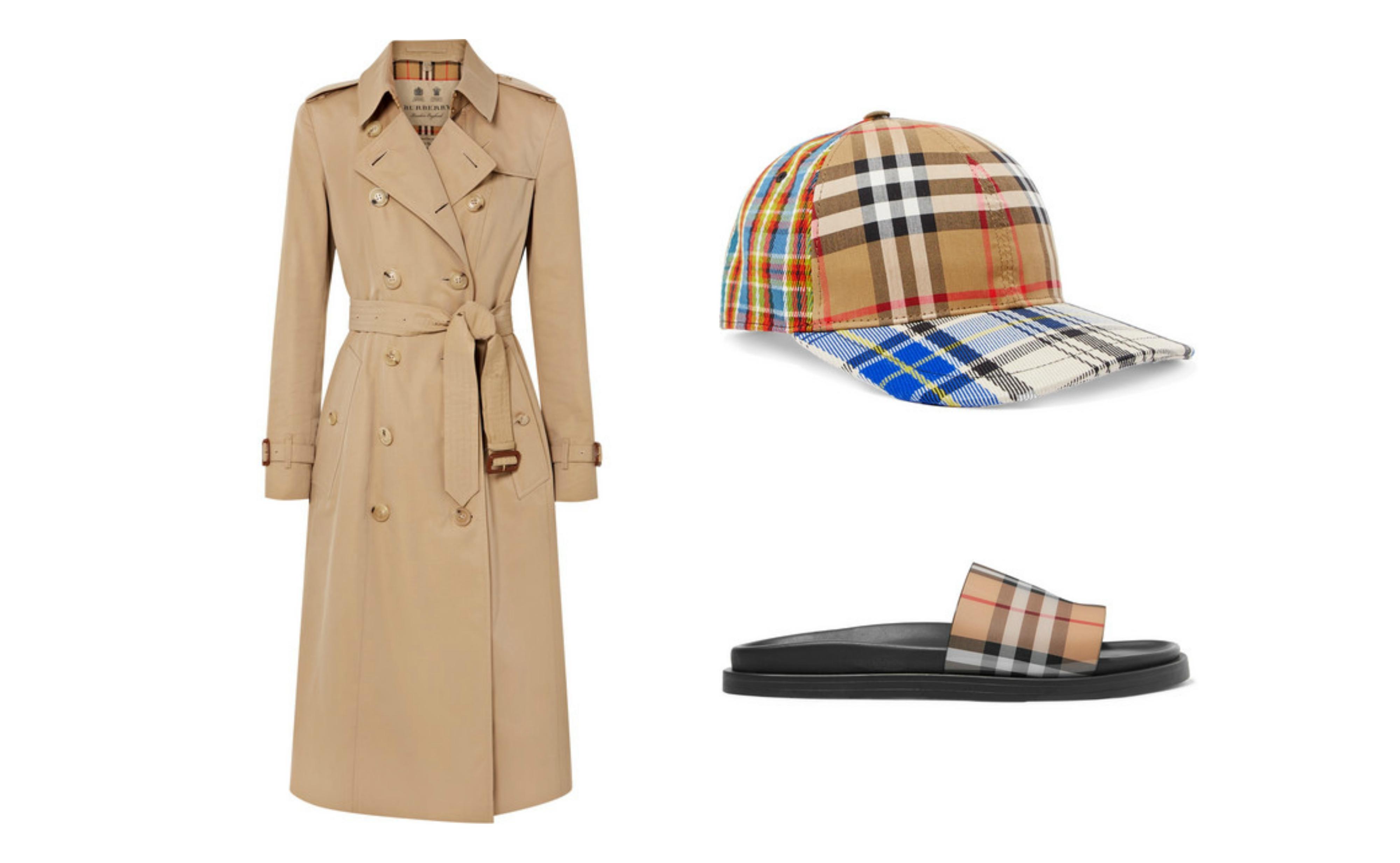 En Burberry-trenchcoat + matchende sandaler og caps