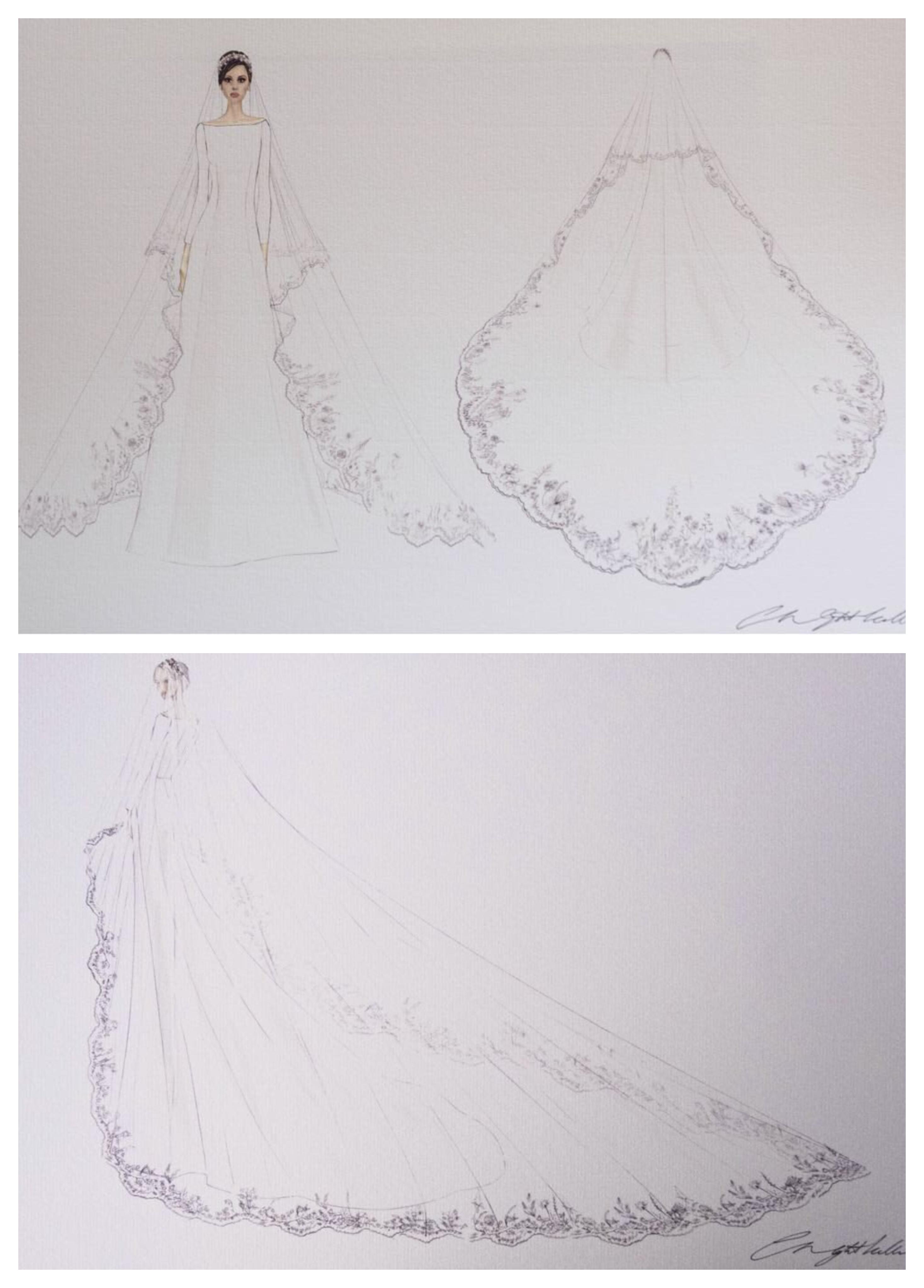 Skisser av Givenchys Clare Waight Kellers brudekjole til Meghan Markle