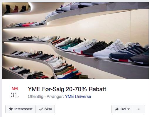 Konseptbutikken YME i Oslo inviterer til før-salg med opp til 70 prosent, før selve sommersalget startet. Foto: Skjemdump Facebook