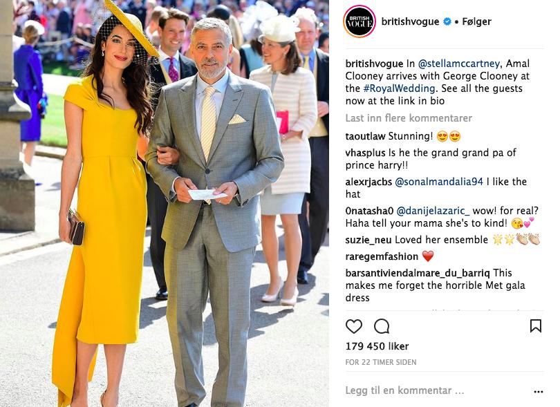 Amal og George Clooney ankommer kirken. Foto: Skjemdump Instagram @BritishVogue