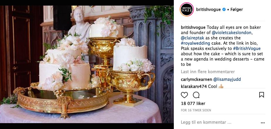 Bryllupskaken til Meghan Markle og prins Harry. Foto Skjemdump Instagram @BritishVogue