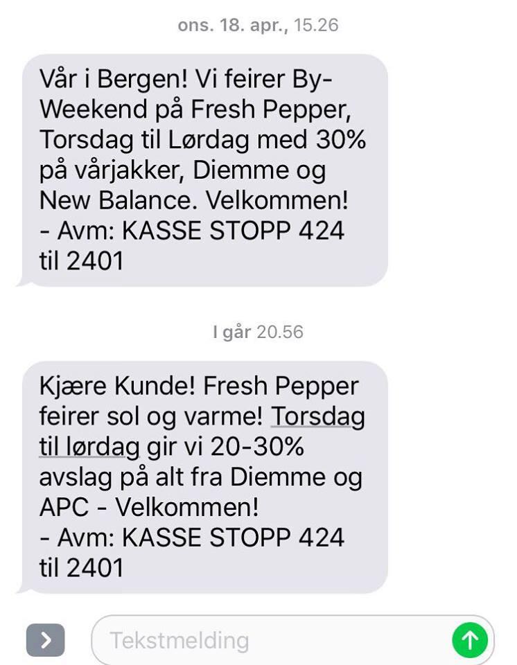 I Bergen feirer konseptbutikken Fresh Pepper vår- og soldager med salg. Foto: Skjemdump SMS fra Fresh Pepper
