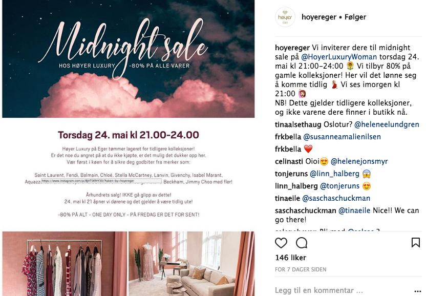 Høyer Eger lokket til seg kunder med store salg på luksusvarer. Foto: Skjemdump Instagram