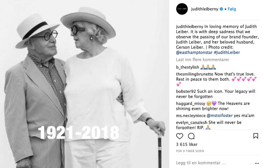 Judith Leiber døde 97 år gammel. Hun var en anerkjent veskedesigner. Foto: Skjemdump Instagram