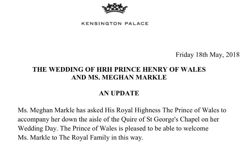 Pressemelding fra Kensington Palace