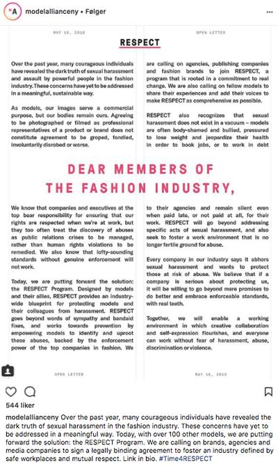 Model Alliance New Yorks åpne brev mot seksuell trakassering