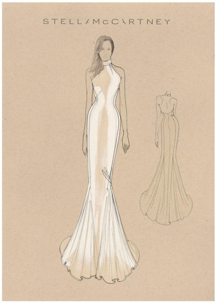 Skisse av kjolen til Meghan Markle signert Stella McCartney