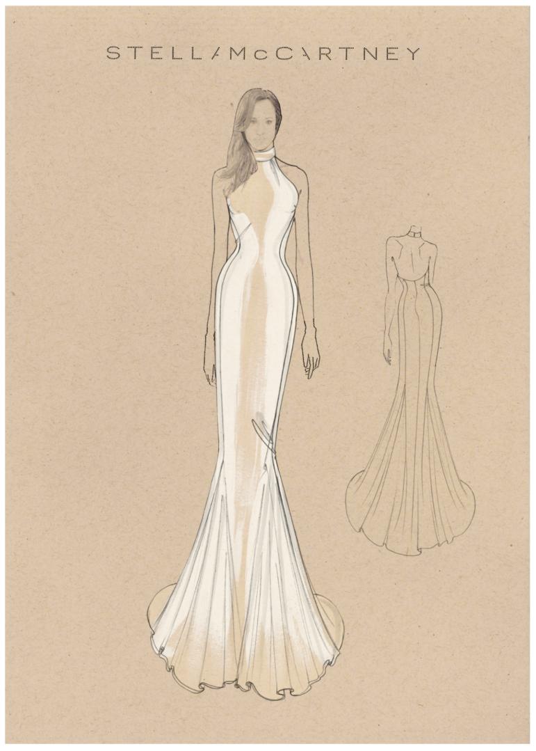 Stella McCartneys skisse til Meghan Markles kjole