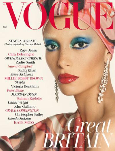 Adwoa Aboah på coveret av Vogue med silkeskjerf