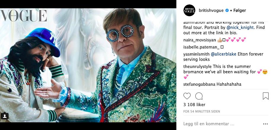 Stefano Gabbana på britisk vogues instagrambilde