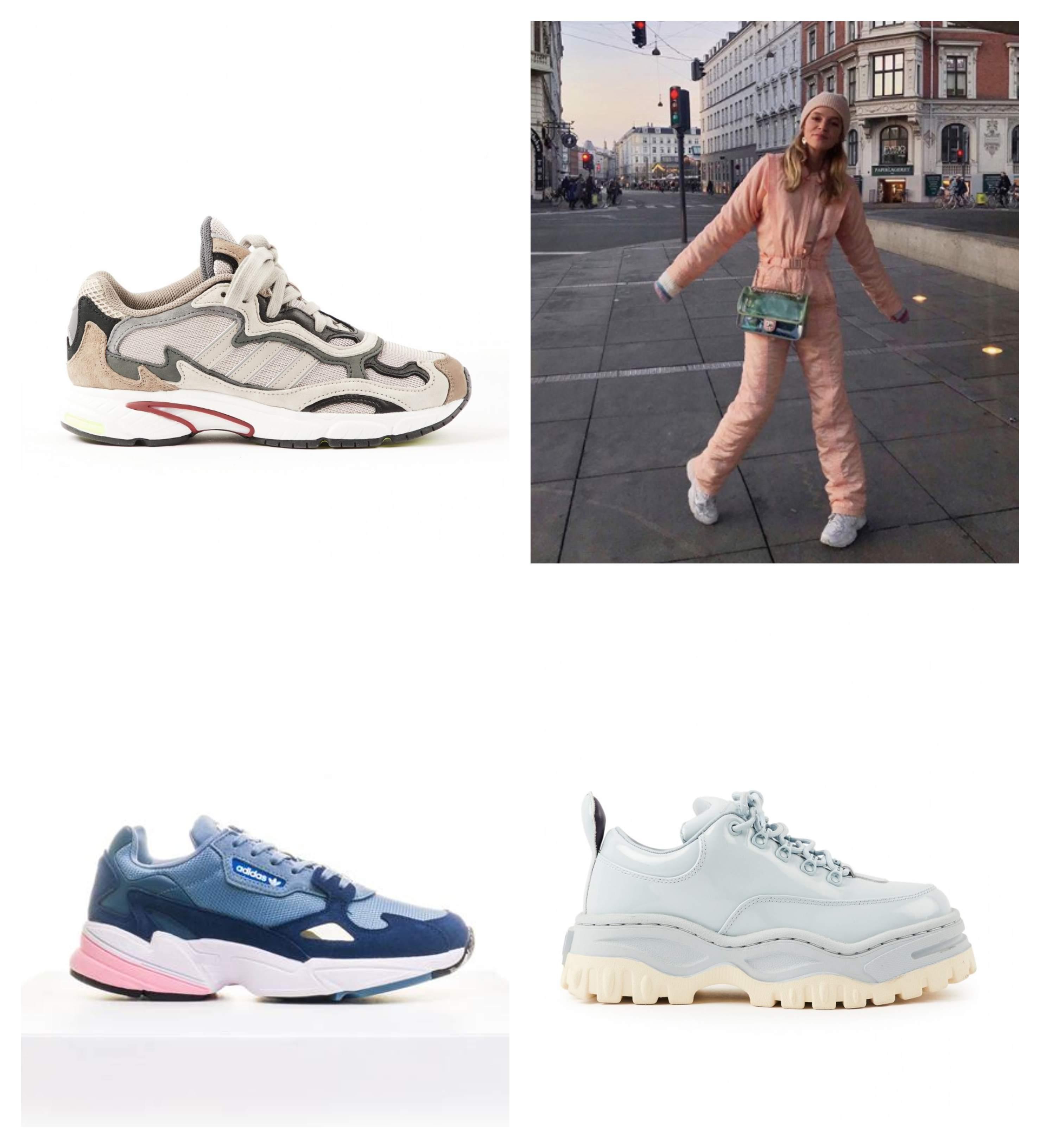 Tre par trendy joggesko, og et bilde av en kvinne iført jumpsuit og joggesko