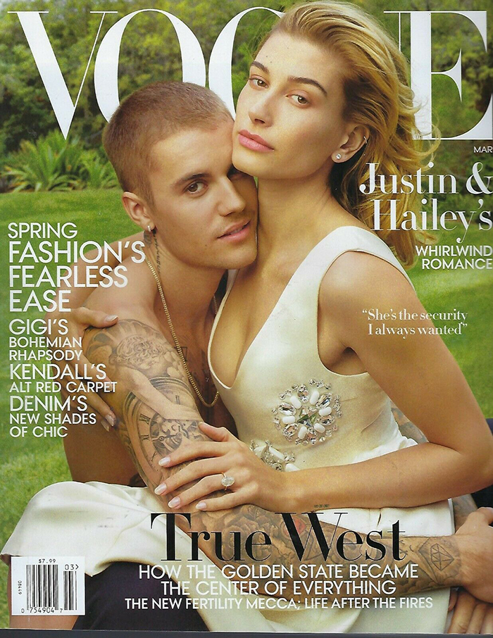 Justin og Hailey Bieber på coveret av Vogue US