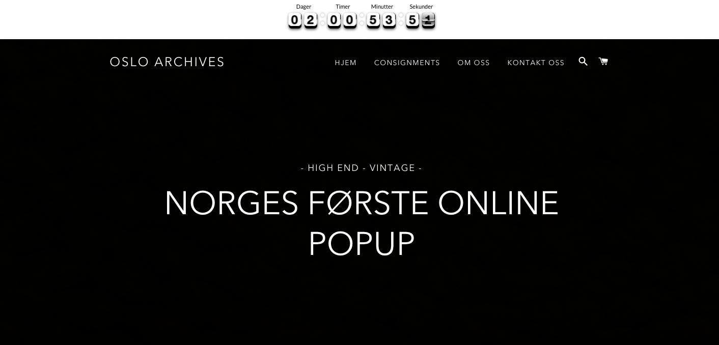 Skjermbilde av den nye nettbutikken Oslo Archives