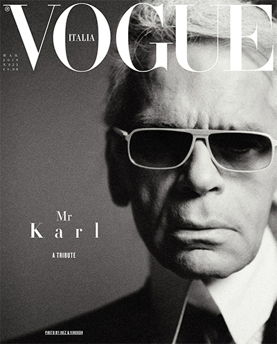 Karl Lagerfeld på minnecoveret av Vogue Italia for mars 2019