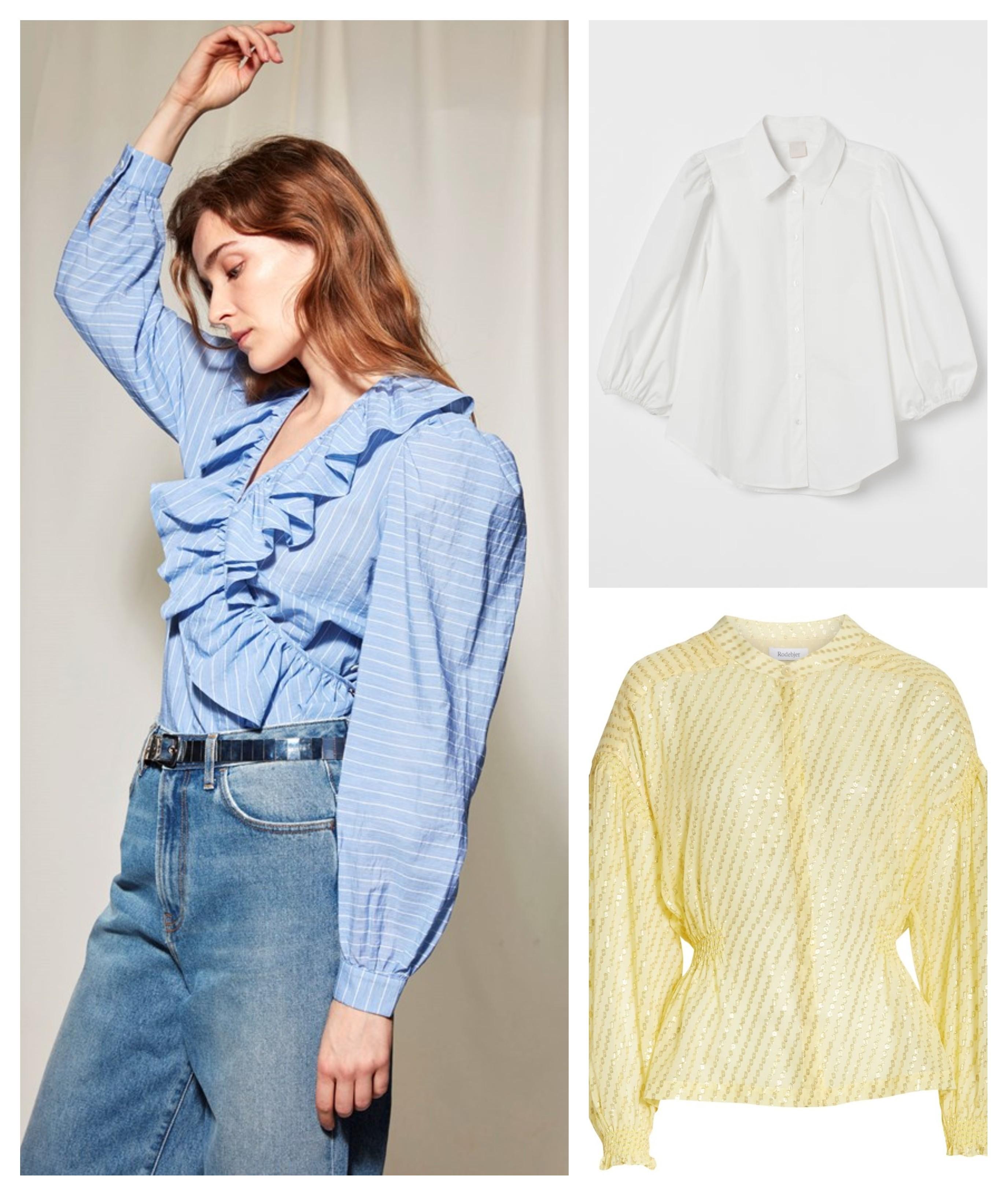 Eksempler på kjoler og bluser med puffermer