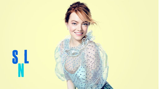 skuespiller emma stone i kjole fra bytimo. foto snl