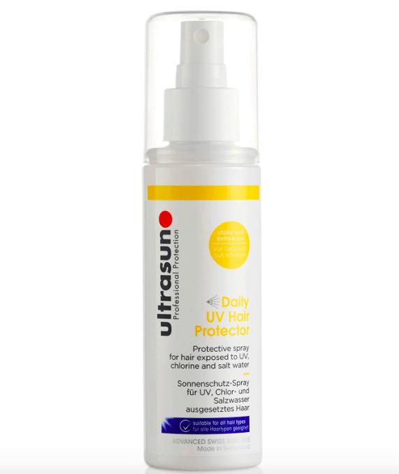Solspray for håret med gule og blå detaljer