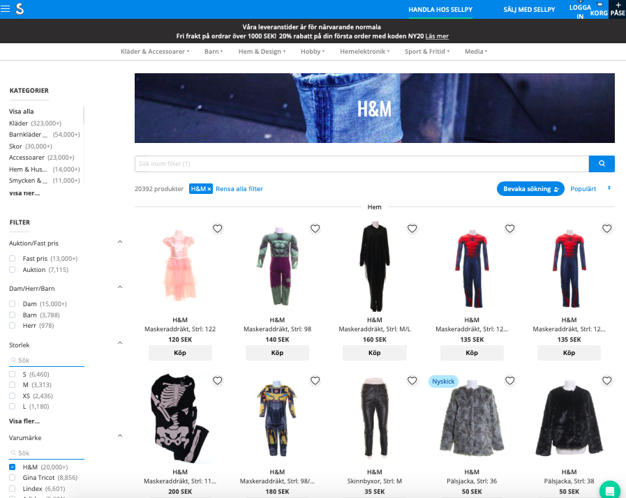 H&M satser på second hand med Sellpy