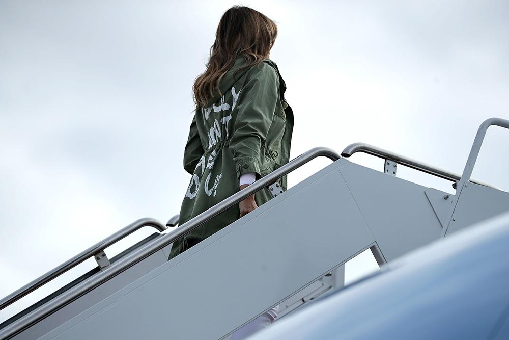 Melania Trump med den utskjelte jakken fra 2018.