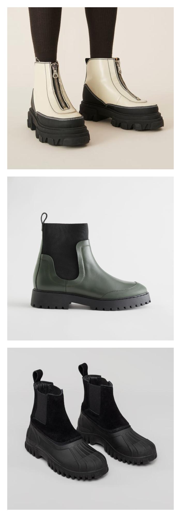 Bilde av hvite, sorte og grønne chunky boots