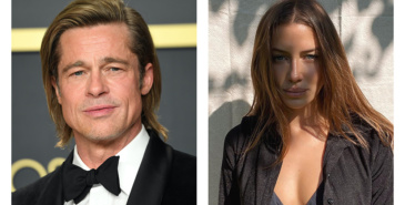 Brad Pitt sin modellkjæreste Nicole Poturalski på catwalken for Hugo Boss under Milan Fashion Week